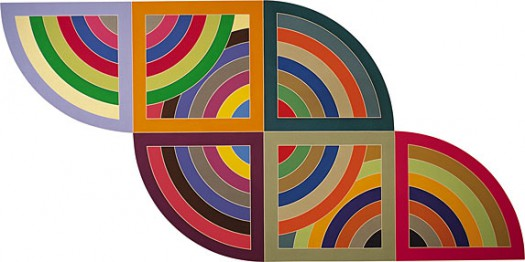 """Harran II"", by Frank Stella (1967). Material: Polymer and fluorescent polymer paint on canvas. Size: 10 x 20 feet (304.8 x 609.6 cm). Collection: Guggenheim Museum, New York."