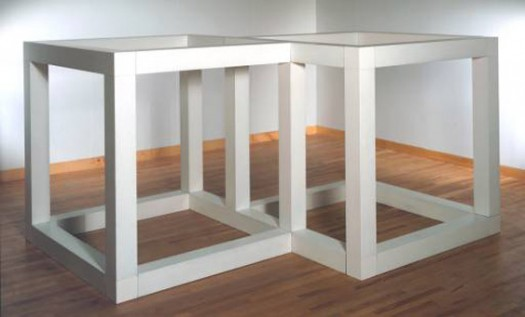 """Two Open Modular Cubes/Half-Off"", by Sol LeWitt (1972). Size: 1600 x 3054 x 2330 mm. Materials: Enameled aluminum. Collection: Tate Gallery, London"