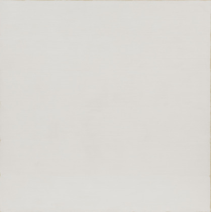 """Twin"", by Robert Ryman (1966). Size: 6' 3 3/4"" x 6' 3 7/8"" (192.4 x 192.6 cm). Material: Oil on cotton. Collection: MoMA."